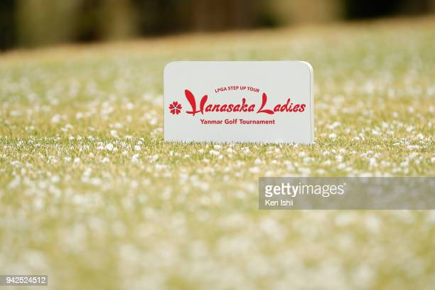 An official logo is seen on the 9th green during the final round of the Hanasaka Ladies Yanmar Golf Tournament at Biwako Country Club on April 6 2018...