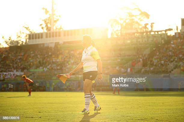 An official looks on during a Women's Pool B rugby match between New Zealand and Spain on Day 1 of the Rio 2016 Olympic Games at Deodoro Stadium on...