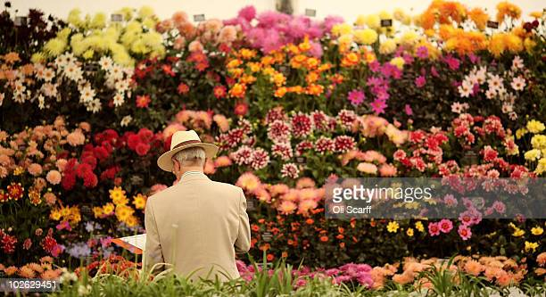 An official makes notes as he views the flowers in the RHS Floral Marquee during the press preview day of the Hampton Court Palace Flower Show on...