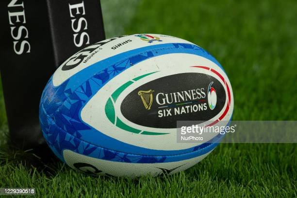 An official matchball during warm up before the Guinness Six Nations Rugby Championship match between Italy and England at the Olimpic Stadium in...