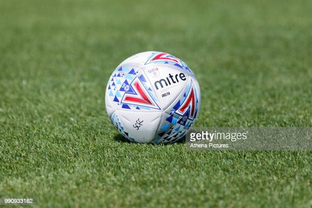An official Mitre training ball during the Swansea City Training Session at The Fairwood Training Ground on July 03 2018 in Swansea Wales