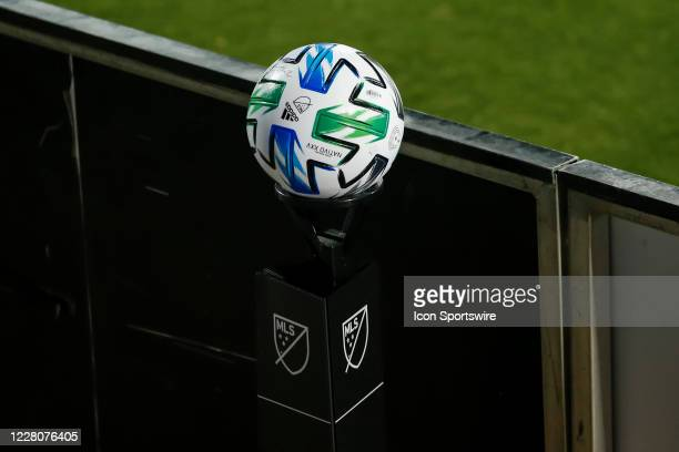 An official MLS soccer ball waits on a stand during the game between the FC Dallas and the Nashville SC on August 16, 2020 at Toyota Stadium in...