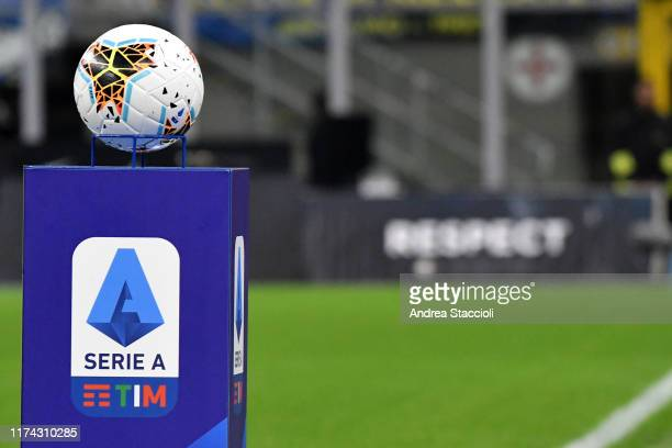 An official Nike Serie A ball over a pedestal with Serie A league Logo is seen ahead of the football match between FC Internazionale and Juventus....