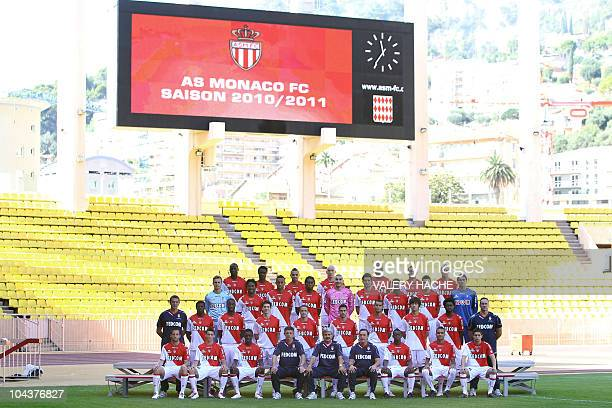 An official picture taken on September 23 2010 at the Louis II stadium in Monaco during the team's official picture for 20102011 season 1st row Loic...