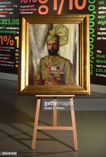 An official portrait of Khudadad Khan VC the First Indian Recipient of the Victoria Cross is placed on an easle for viewing during a commemoration...