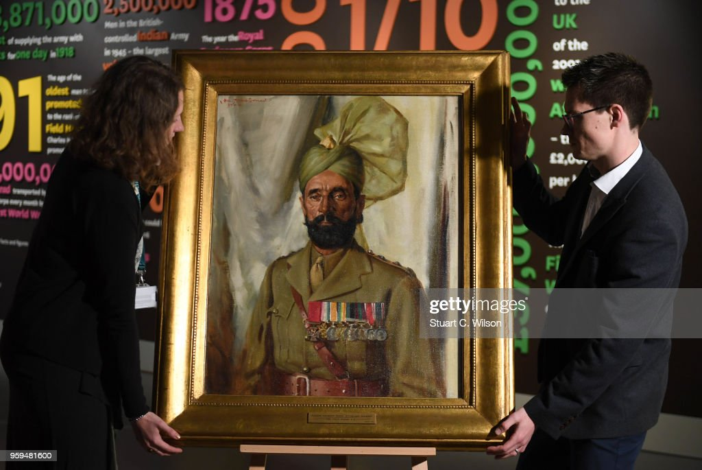 An official portrait of Khudadad Khan VC, the First Indian Recipient of the Victoria Cross, is placed on an easle for viewing during a commemoration service at The National Army Museum on May 17, 2018 in London, England. Khudadad Khan's Grandson, Ali Nawaz Chaudhary, travelled from Pakistan to attend the service and view the portrait.