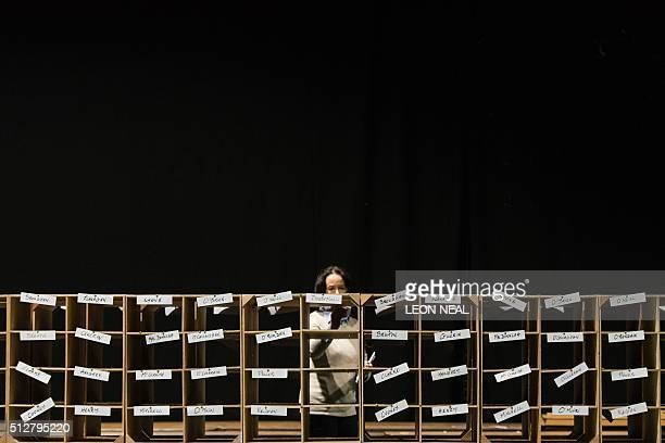 An official prepares to begin day two of vote counting in the RDS centre in Dublin Ireland on February 28 two days after the vote took place in a...