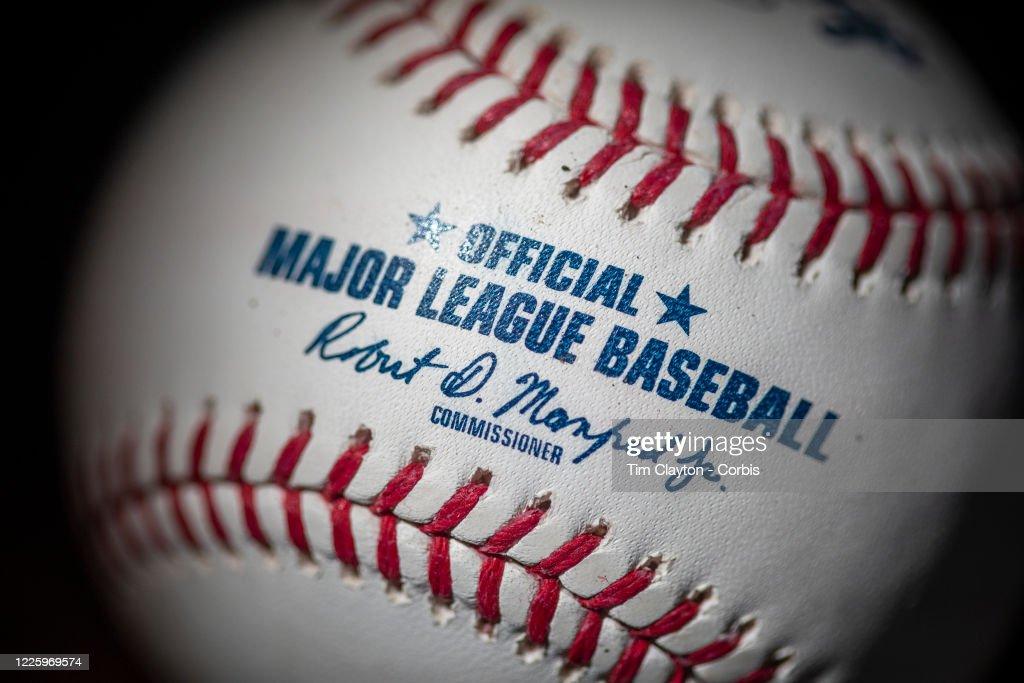 An official Rawlings Major League Baseball for the 2020 Major League Baseball season. : News Photo