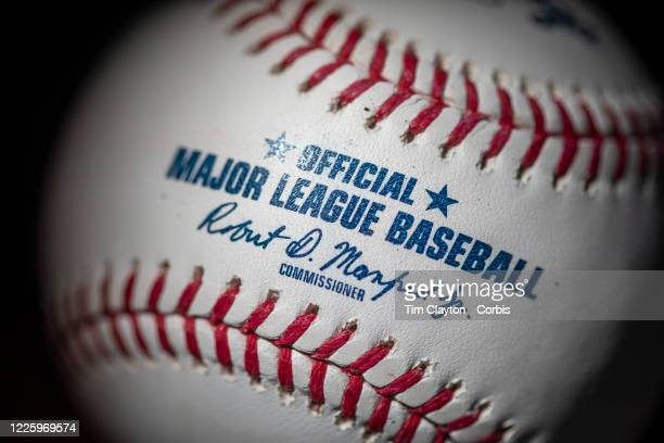 An official Rawlings Major League Baseball for the 2020 Major League Baseball season showing the red stitching and markings and the signature of MLB...