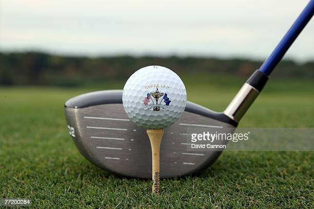 An official Ryder Cup Logo ball on the tee at Valhalla Golf Club venue for the 2008 Ryder Cup Matches on October 3 2007 in Louisville Kentucky