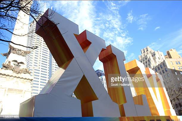 An official Super Bowl XLVI sign is seen in front of the Soldiers' and Sailors' Monument prior to Super Bowl XLVI between the New York Giants and the...