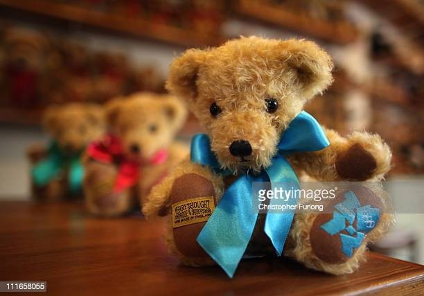 An official teddy bear commemorating the 2012 London Olympics sits in the shop of the Merrythought teddy bear factory on April 5 2011 in Ironbridge...