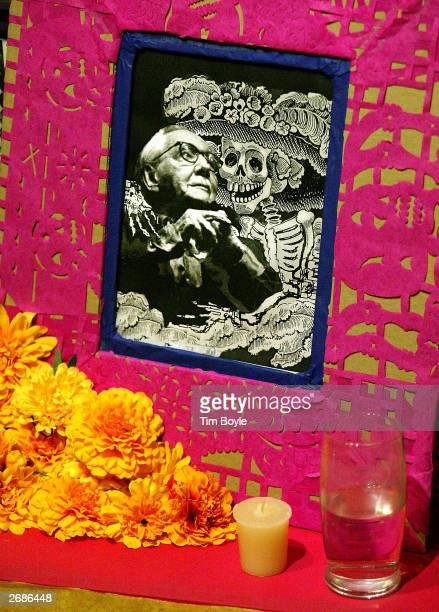 An ofrenda to Manuel Alvarez Bravo is displayed at the Dia de los Muertos exhibition October 31 2003 at the Mexican Fine Arts Center Museum in...