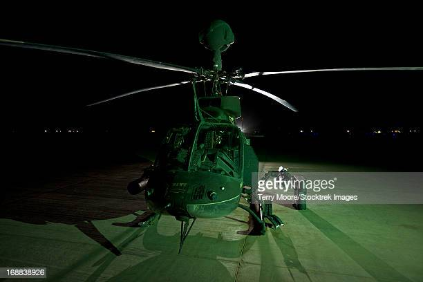 An OH-58D Kiowa helicopter at COB Speicher, Tikrit, Iraq, during Operation Iraqi Freedom.