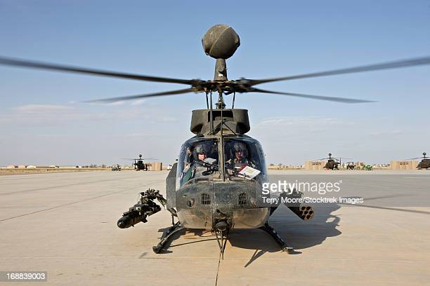 An OH-58D Kiowa helicopter prepares for liftoff from COB Speicher, Tikrit, Iraq, during Operation Iraqi Freedom.