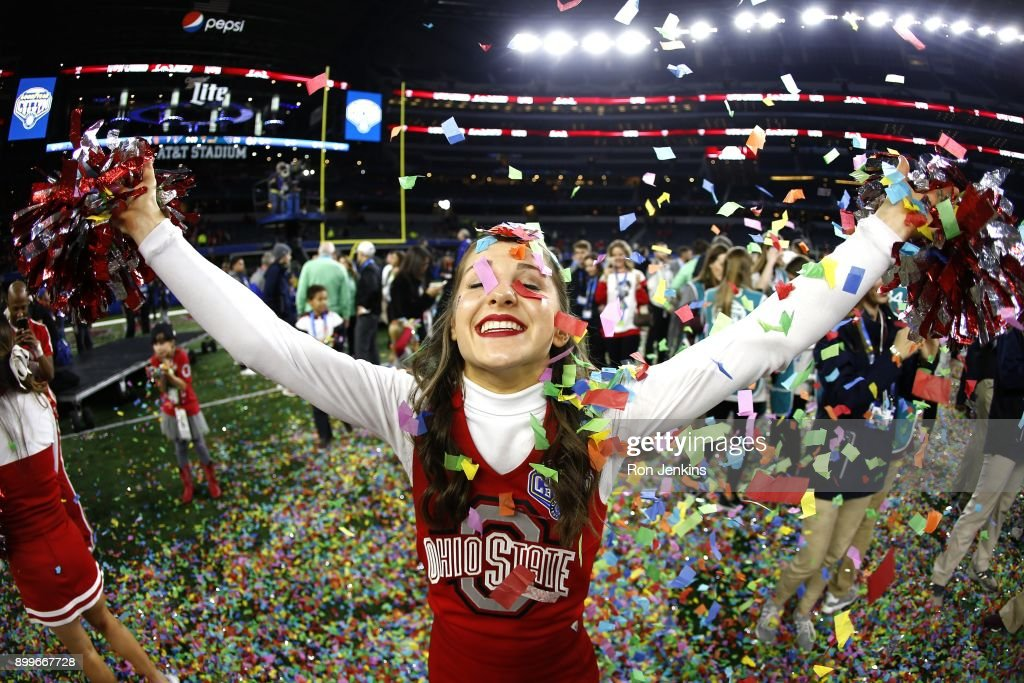 An Ohio State cheerleader celebrates following the 82nd Goodyear Cotton Bowl Classic between USC and Ohio State at AT&T Stadium on December 29, 2017 in Arlington, Texas. Ohio State won 24-7.