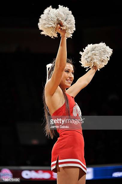An Ohio State cheerleader cheers during a game against the Nebraska Cornhuskers on January 3 2012 at Value City Arena in Columbus Ohio