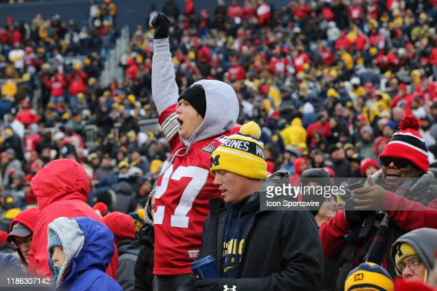 An Ohio State fan celebrates during a regular season Big 10 Conference game between the Ohio State Buckeyes and the Michigan Wolverines on November...