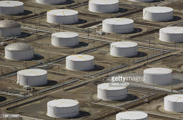 An oil depot or fuel farm is seen from the air over Carson California February 16 2012 AFP PHOTO / Saul LOEB
