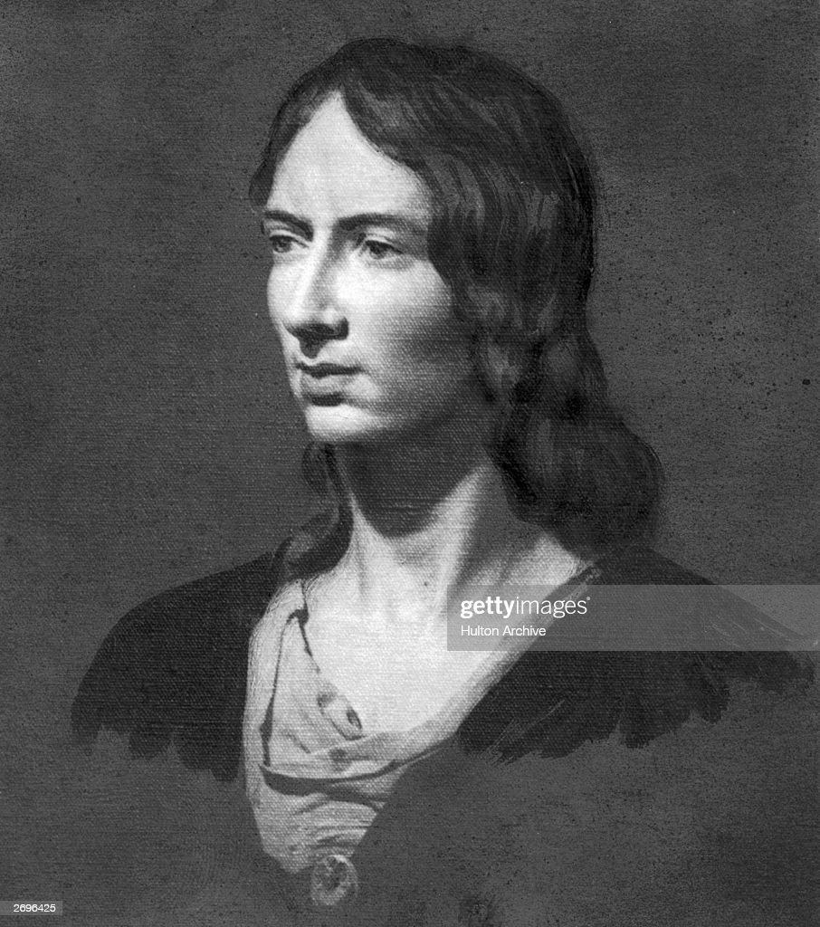 An oil painting of Emily Bronte (1818 - 1848), authoress of the novel 'Wuthering Heights,' published in 1847.