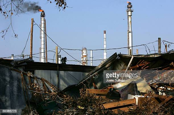 An oil refinery appears to be operational September 12 2005 in St Bernard Parish in New Orleans Louisiana Rescue efforts and clean up continue in the...