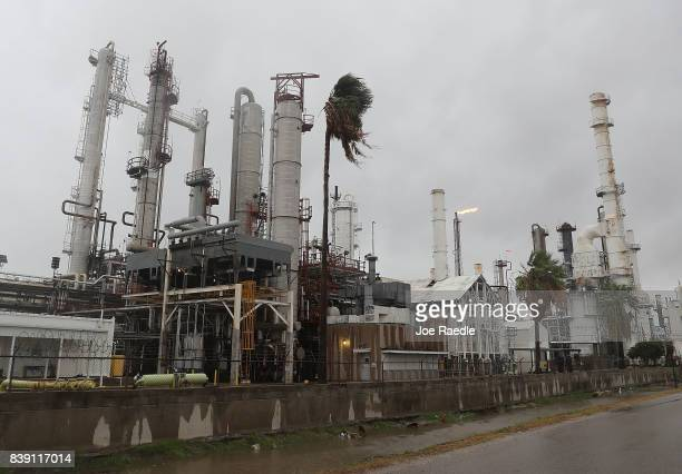 An oil refinery is seen before the arrival of Hurricane Harvey on August 25 2017 in Corpus Christi Texas As Hurricane Harvey comes ashore many of the...