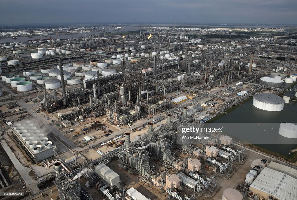An oil refinery is shown near Houston following Hurricane Harvey August 30, 2017 in Houston, Texas. The city of Houston is still experiencing severe flooding in some areas due to the accumulation of historic levels of rainfall, though the storm has moved to the north and east.