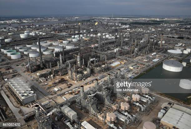 An oil refinery is shown near Houston following Hurricane Harvey August 30 2017 in Houston Texas The city of Houston is still experiencing severe...