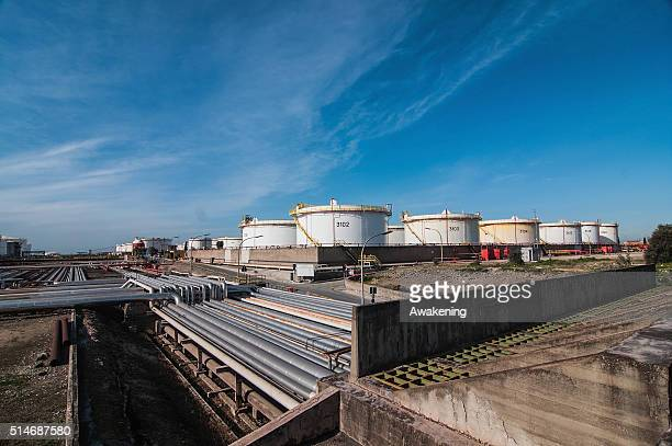 An oil refinery operates near the center of the city on March 10 2016 in Taranto Apulia Italy A national referendum on oil drilling brought about by...