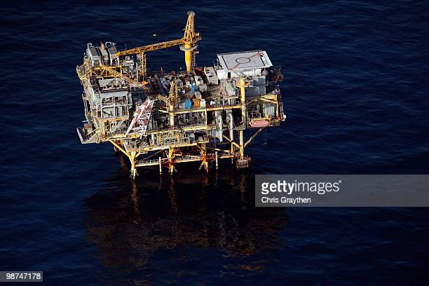 An oil rig near the Deepwater Horizon wellhead in the Gulf of Mexico on April 28 2010 near New Orleans Louisiana An estimated leak of 10005000...