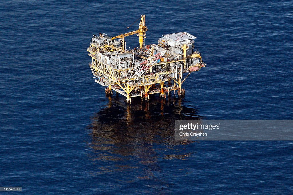 An oil rig near the Deepwater Horizon wellhead in the Gulf of Mexico on April 28, 2010 near New Orleans, Louisiana. An estimated leak of 1,000-5,000 barrels of oil a day are still leaking into the gulf.