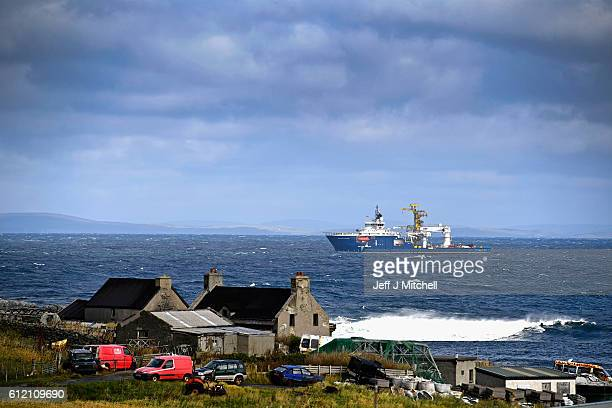 An oil rig supply vessel shelters from bad weather off Ham Voe on the Island of Foula on September 29 2016 in Foula Scotland Foula is the remotest...