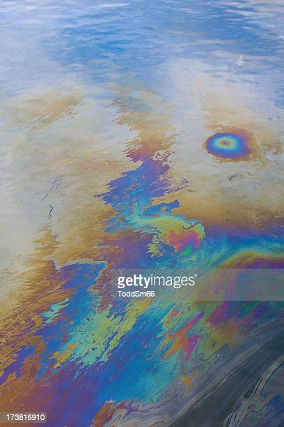 An oil slick blemishing an ocean