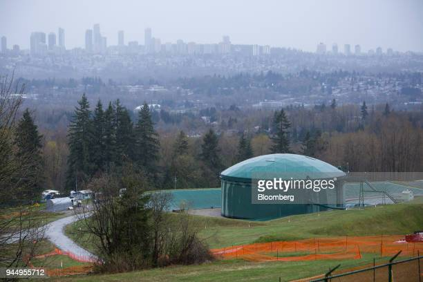 An oil tank stands near the Kinder Morgan Inc Trans Mountain pipeline expansion site in Burnaby British Columbia Canada on Wednesday April 11 2018...