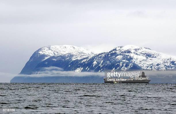 An oil tanker moves into Prince Willam Sound on April 4 2004 near Valdez Alaska Fifteen years after the Exxon Valdez supertanker split open on a...