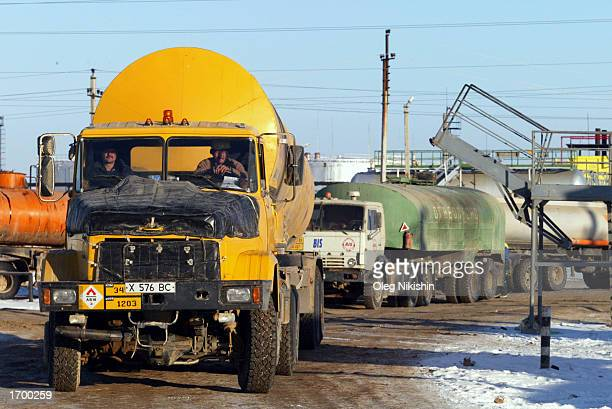An oil tanker truck waits for loading at an oil refinery owned by the Canadian oil company Hurricane Kumkol Munai December 19 2002 in Chemkent...