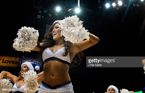 An Oklahoma City Thunder dancer performs during the second half of a NBA game at the Chesapeake Energy Arena on December 25 2017 in Oklahoma City...