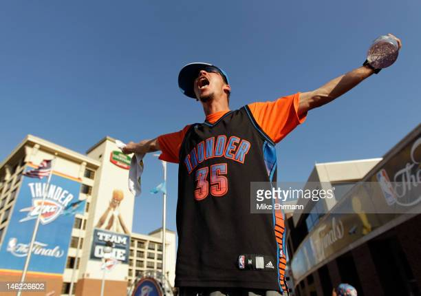 An Oklahoma City Thunder fan screams outside before Game One of the 2012 NBA Finals against the Miami Heat at Chesapeake Energy Arena on June 12 2012...