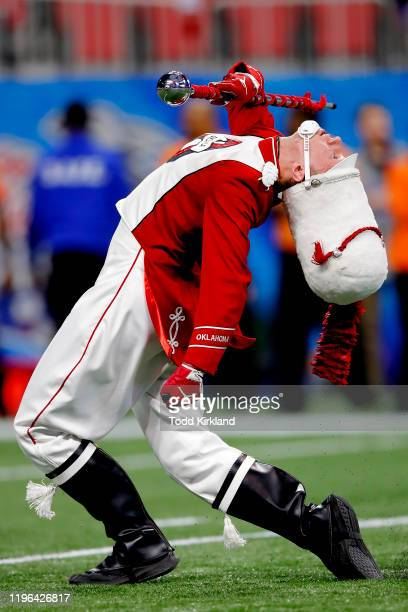 An Oklahoma Sooners Drum Major during the ChickfilA Peach Bowl game against the LSU Tigers at MercedesBenz Stadium on December 28 2019 in Atlanta...