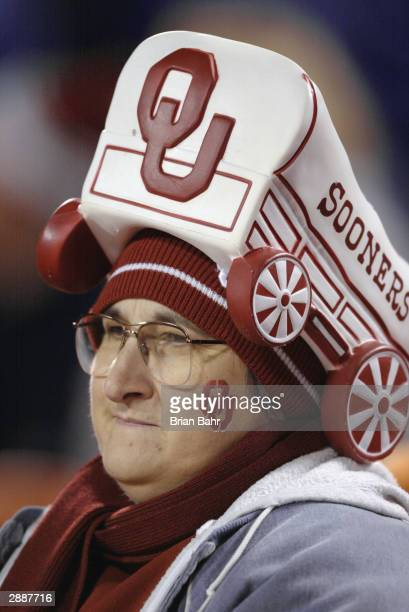An Oklahoma Sooners fan shows his support for his team during the game against the Kansas State Wildcats in the Dr. Pepper Big 12 Championship on...