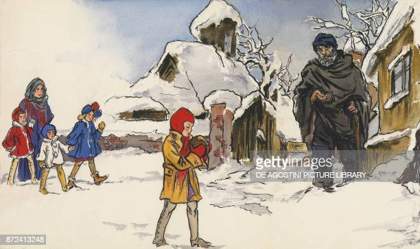 An old beggar illustration for The star money fairy tale by the Grimm brothers Jacob and Wilhelm drawing