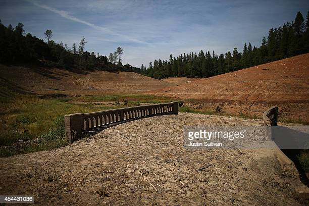 An old bridge is revealed due to low water levels on a dry inlet of Shasta Lake on August 30 2014 in Lakehead California As the severe drought in...