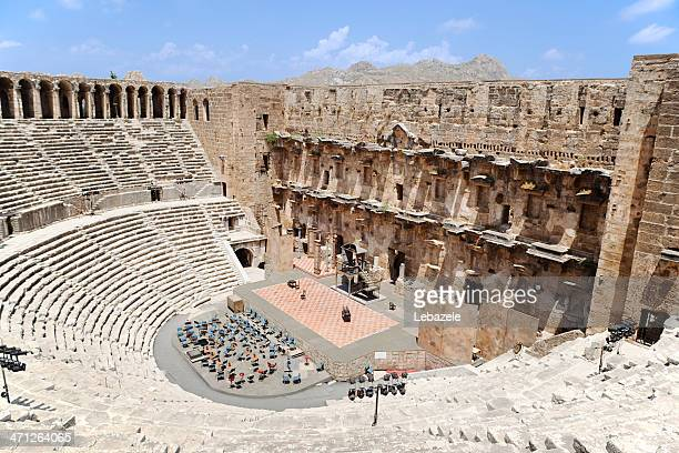 an old building in aspendos antalya turkey - antalya province stock pictures, royalty-free photos & images