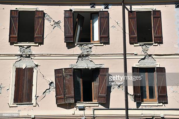 An old building is partly damaged after an earthquake on August 25 2016 in Amatrice Italy The death toll in the 62 magnitude earthquake that struck...