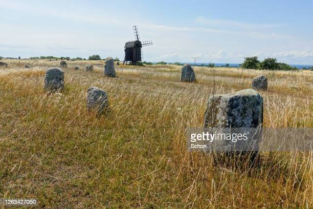 an old burial ground with a windmill on a sunny summer day - エーランド ストックフォトと画像