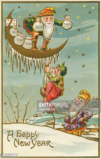 an old chromolithograph postcard from circa 1911 with gnomes or leprechauns