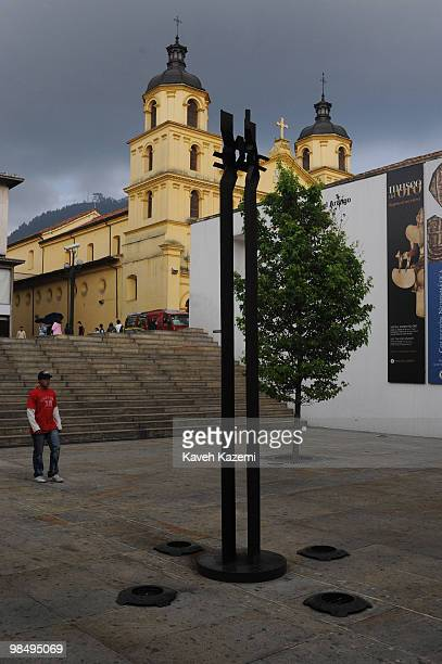 An old church in a typical neighborhood in Candeleria old part of the city Bogota formerly called Santa Fe de Bogota is the capital city of Colombia...