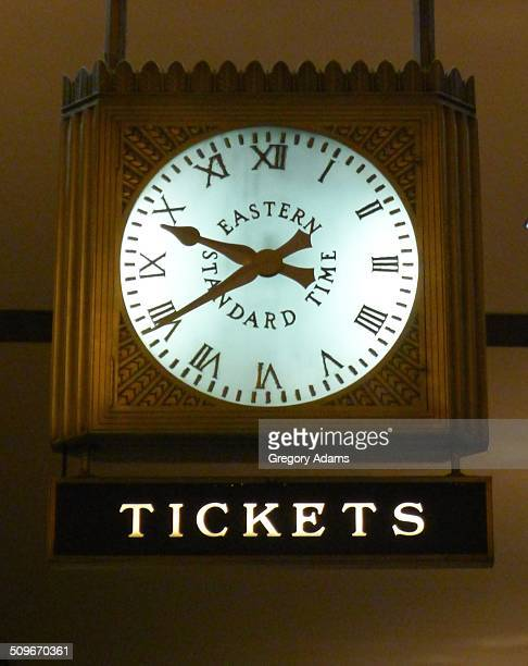 An old clock above the Amtrak ticket counter at Philadelphia's 30th Street Station