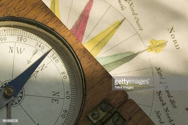 An old compass sitting on an illustration of a compass
