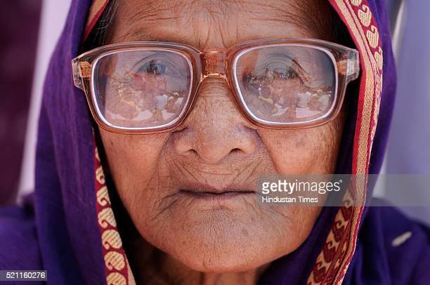 An old dalit lady at Dalit Prerna Sthal to pay homage and to celebrate the 125th birth anniversary of Dr BR Ambedkar on April 14 2016 in Noida India...
